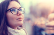 canvas print picture - autumn girl glasses / autumn look girl in transparent glasses, eyesight