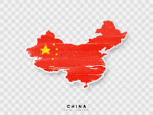 China Detailed Map With Flag Of Country. Painted In Watercolor Paint Colors In The National Flag.