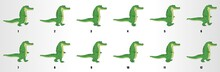 Cartoon Crocodile Walk Cycle Animation Frames, Loop Animation Sequence Sprite Sheet