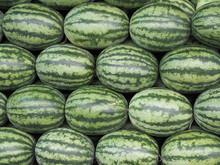 Full Frame Shot Of Raw Watermelon For Sale In Local Market.background, Farmer Fruit Market.