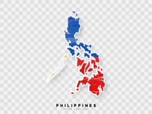 Philippines Detailed Map With Flag Of Country. Painted In Watercolor Paint Colors In The National Flag.