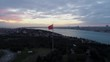 Aerial view of Istanbul Bosphorus and Turkish Flag - 4K Drone footage in Turkey.