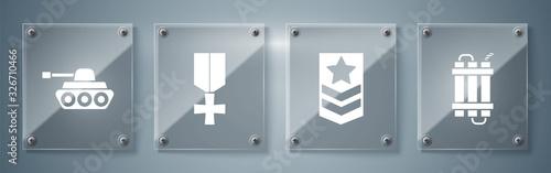 Fotografia, Obraz Set Detonate dynamite bomb stick, Chevron , Military reward medal and Military tank
