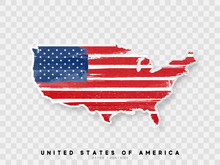 United States Of America Detailed Map With Flag Of Country. Painted In Watercolor Paint Colors In The National Flag.
