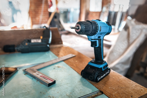 Photo blue electric screw driver