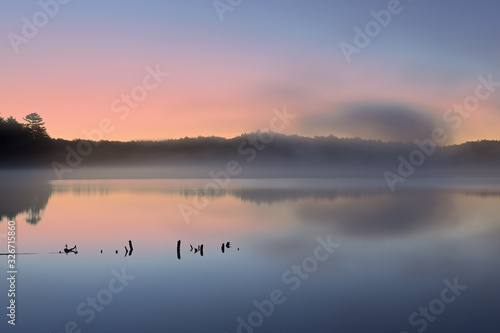 Landscape at dawn of the shoreline of Pete's Lake, Hiawatha National Forest, Mic Canvas Print