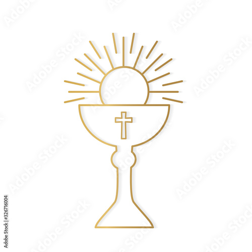 Fotografia golden holy communion icon- vector illustration
