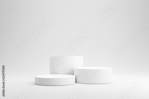 Obraz Empty podium or pedestal display on white background with cylinder stand concept. Blank product shelf standing backdrop. 3D rendering. - fototapety do salonu
