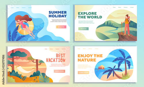 Set of four online web travel templates for a Summer Holiday, Best Vacation, Exp Canvas