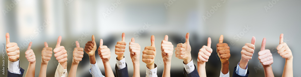 Fototapeta Business Gruppe mit Thumbs up Zeichen