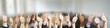 Leinwandbild Motiv Business Gruppe mit Thumbs up Zeichen