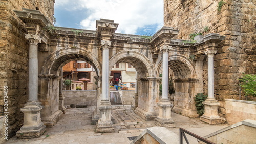 View of Hadrian's Gate in old city of Antalya timelapse , Turkey Wallpaper Mural