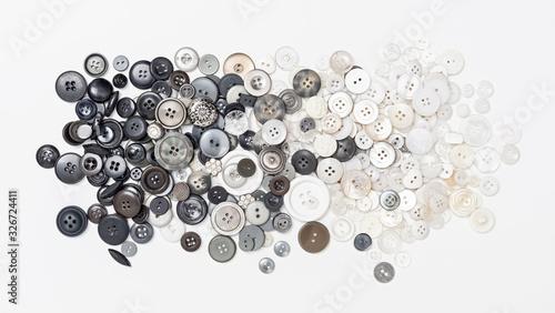 Papel de parede Sammlung von Knöpfen in schwarz, grau, weiss