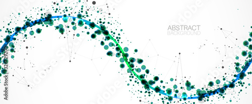 Abstract vector background, scientific direction, with green circles and chaotic spots on it Wallpaper Mural