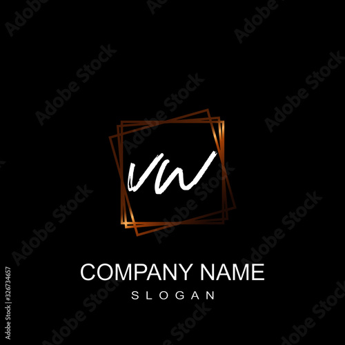 Photo VW Initial letter gold square calligraphy handwritten logo.