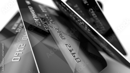 Credit Cards in Black Edition put aslant Canvas Print