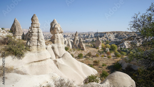 Landscape with a weird sandstone rocks in Cappadocia, Turkey. Canvas Print