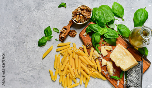 Italy food ingredients  pasta with pesto :   penne  pasta, fresh basil, nuts, parmesan cheese and olive oil Canvas Print