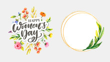 Woman S Day Text Design With F...
