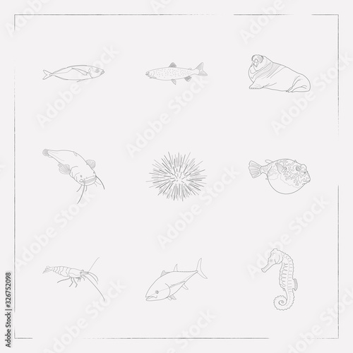 Set of fish icons line style symbols with scad, sheat fish, seafood and other icons for your web mobile app logo design Fototapeta