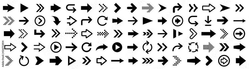 Fototapeta Arrow icons big set. Vector illustration