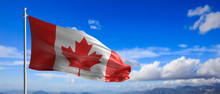 Canada National Flag Waving On Blue Sky Background. 3d Illustration