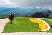 Paraglider Preparing A Launch ...