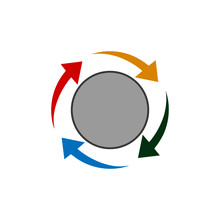 Colorful Circle Arrow Chart. Multi Color Spinning Arrows Icon