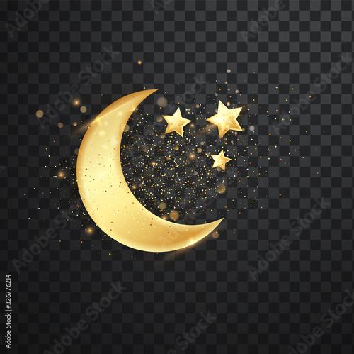 Fotografía Golden reflective crescent moons with stars