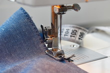 Sewing On The Sewing Machine. ...