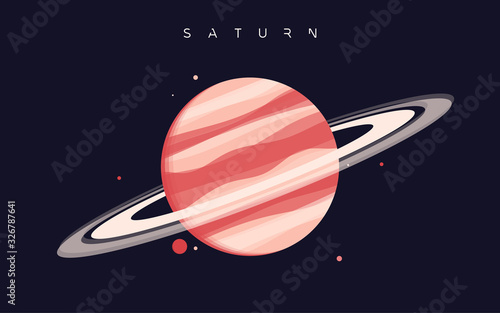 Obraz na plátně Saturn. The sixth planet from the Sun. Vector illustration