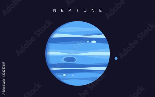 Obraz na plátně Neptune. The eighth planet from the Sun. Vector illustration