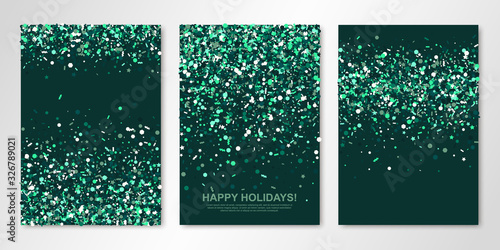 Fotografía Banners set with sparkle emerald confetti on green back