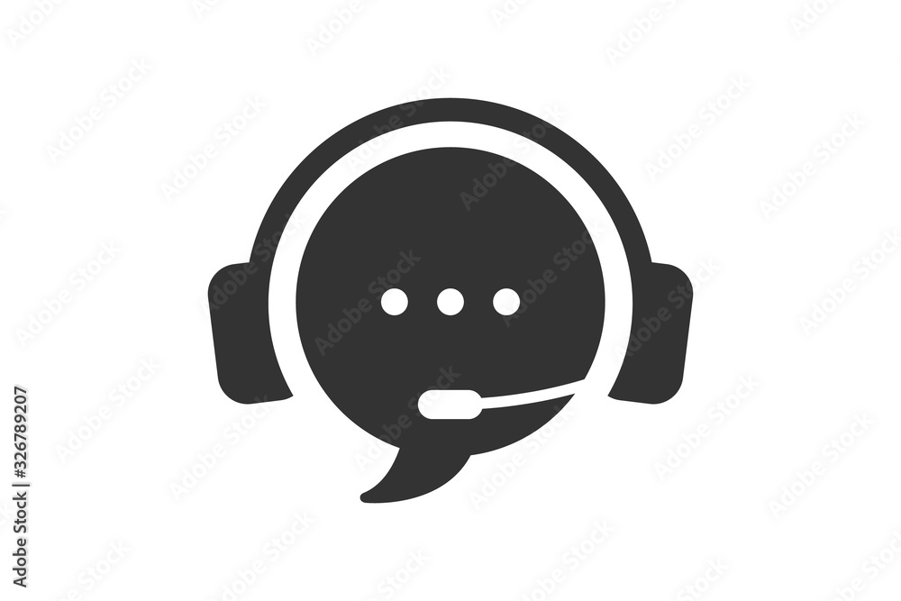 Fototapeta Live chat icon. Online web support system. Call center icon. Consept of live chat, messages of speech bubble with dots and headphones. Flat vector illustration isolated on white background.