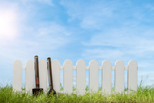 Spring Grass And Wooden Fence ...