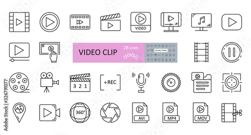 Fototapeta Video clip set of 28 icons with editable stroke. Vector illustration of sound recording, play, watching videos, listening to music, cutting frames, file folders, MP4, AVI, 360 panoramic view. obraz na płótnie