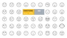 Emotions Emoji Set 42 Icons With Editable Stroke. Vector Illustration Of An Emotional Face. Joy, Sadness, Anger, Irritation, Tears, Sleep, Surprise, Coolness, Music Lover, Angel, Love, Greed, Nausea.