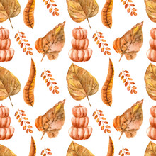 Autumn Leaves Pumpkin Broom Watercolor Seamless Pattern Illustration On White Background For Scrapbooking Print Or Fabric Design.