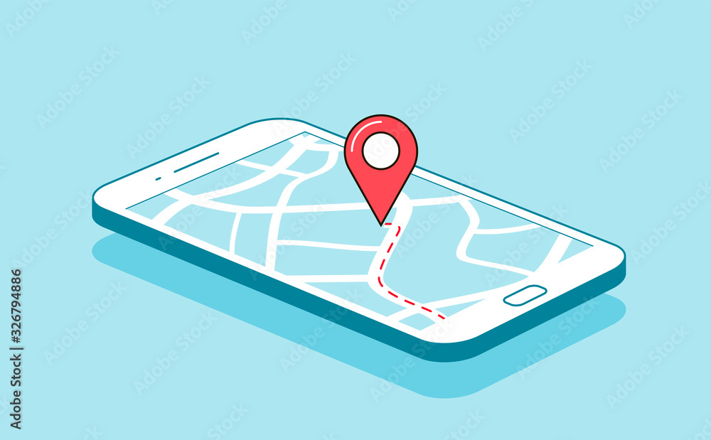 Fototapeta GPS navigation or route with check-in symbol on screen of mobile phone. Vector