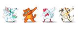 Fototapeta Fototapety na ścianę do pokoju dziecięcego - Set of cute cartoon characters in dub dance poses. Hand drawn unicorn, cat, chicken, cow doing dabbing. Vector Illustration for kids isolated on white background.