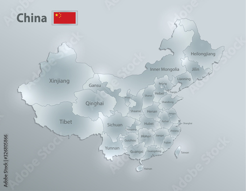 Photo China map and flag, administrative division, separates regions and names, design