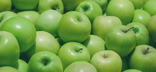 Many Ripe Green Apples In A Pile
