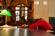 Sleeping Young Woman Student S...