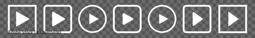 Fotografía Play Button Icon White Line | Start Buttons Illustration | Video Audio Player Na