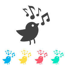 Bird With Music Note Multi Col...