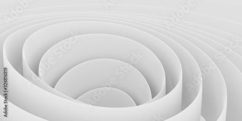 White intersected 3d spirals, abstract digital render illustration, modern futuristic background pattern