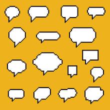 Set Of Pixel Art Speech Bubble...