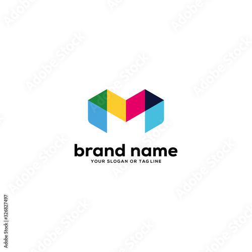 colorful letter m logo design vector Canvas Print