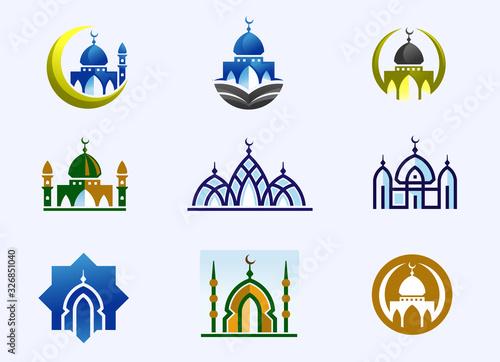 Cuadros en Lienzo simple minimalist mosque building logo vector simple luxury icon illustration de