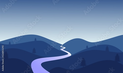 Obraz Hills view illustration vector design - fototapety do salonu